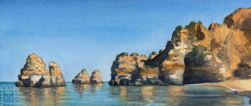 Stein, Strand & Steilküstein Aquarell